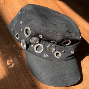 Harley Davidson riding, black, rhinestones, rivets